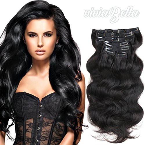 "Full Head Clip in Hair Extensions Body Wave Human Hair Brazilian Virgin Hair Double Weft 7Peices/set 22inch-28inch (200g 24"", Natural Black)"
