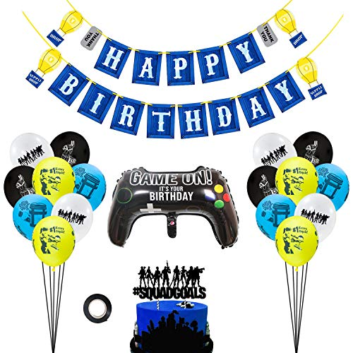 Video Game Birthday Party Supplies Decorations Banner Cake Topper Balloons for Boys Kids Girls Game Fans]()