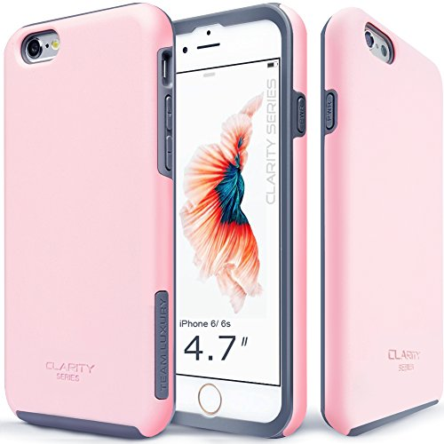 Team Phone - iPhone 6s Case, TEAM LUXURY [Clarity Series] Ultra Defender TPU + PC Shock Absorbent Slim-fit Premium Protective Case - for Apple iPhone 6 / iPhone 6S (Pastel Pink/ Gray)