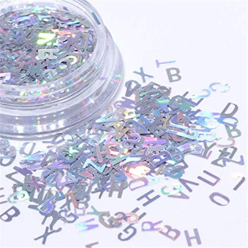 (1Pcs Laser Nail Glitter Sequins 3D Mixed Letter 26 Designs Holographic Nails Pailette Manicure Nail Art Decor Silver)