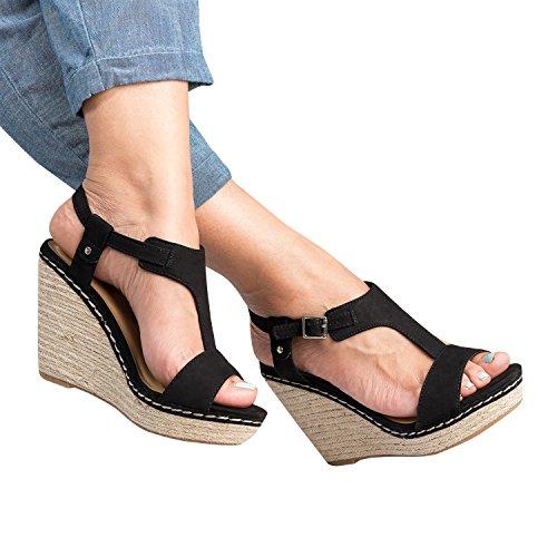 Womens Wedge T Strap Sandal Open Toe Ankle Buckle Espadrilles Slingback ()