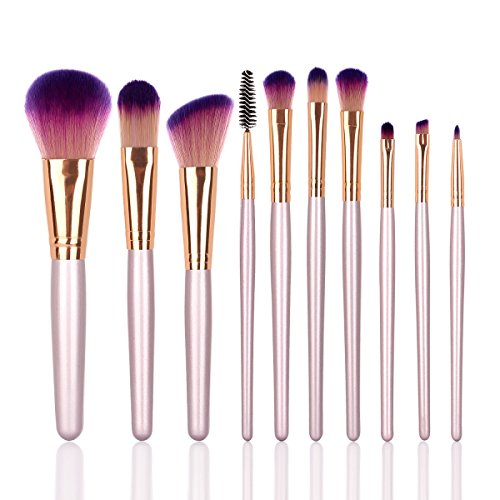 YZiMeng Rose Gold Makeup Brush Set Blending Face Powder Kabuki Blush Eyeliner Eyebrow Eyeshadow Lip Portable Cosmetic Tools For Girl Women 10pcs