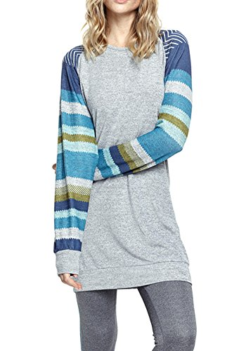 Poulax Women\'s Cotton Knitted Long Sleeve Lightweight Tunic Sweatshirt