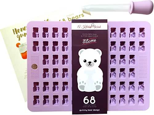 Gummy Bear Candy Mold - 68 HIGHLY DETAILED Cavities - Bonus Dropper & Recipe Card - Food Grade, 100% BPA Free & FDA Approved Silicone - Perfect For Chocolate, Jelly, Ice Cubes Too