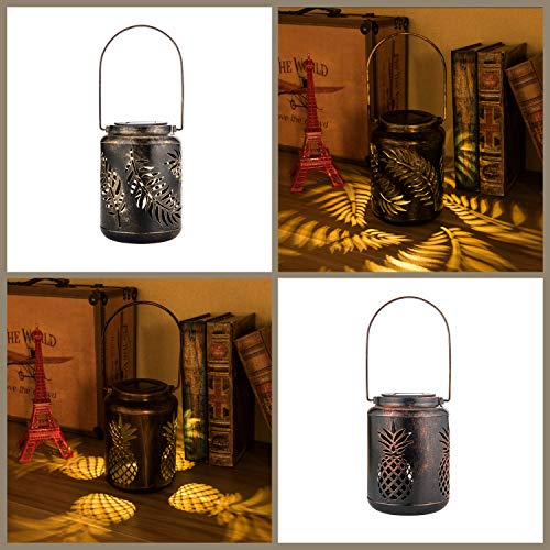 ExcMark Outdoor Solar Hanging Lantern Lights LED Decorative Lamp for Garden Patio Courtyard Lawn and Table (Set of 2)