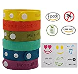 Natural Mosquito Repellent Bracelets + 6 Colorful Repellent Patches, Wristbands With Buttons, Deet Free Bands, Pest Control Bug Protection for Kids & Adults by MosquitoStation [Upgrade Version].