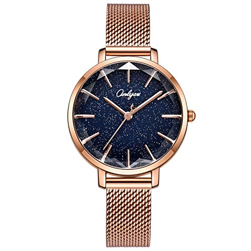 ONLYOU Women's Fashion Watches,Unique Face Design and 30M Waterproof,Analog Quartz Wristwatches with Stainless Steel Mesh Band (Rose Gold) by onlyou
