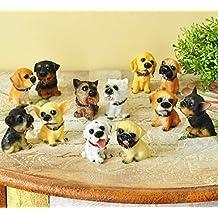 SummerBoom Pack of 12 Poly-Resin Dogs Figurines-Rottweller /Chihuahua /Dalmatlan/Bulldog /Doberman Pinscher/German Shepherd /Cocker Spaniel/Pug/Yorkie/Westie Poodle/Beagle
