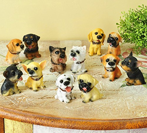 SummerBoom Pack of 12 Poly-Resin Dogs Figurines-Rottweller /Chihuahua /Dalmatlan/Bulldog /Doberman Pinscher/German Shepherd /Cocker Spaniel/Pug/Yorkie/Westie (Cocker Spaniel Sculpture)