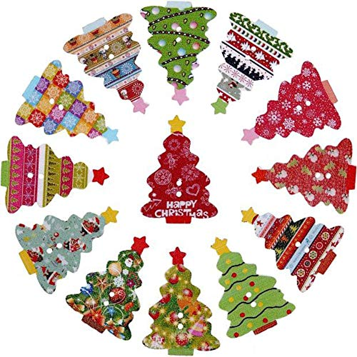 XGuangage Mixed Random Christmas 2 Holes Wooden Buttons for Sewing Crafting (100pcs -