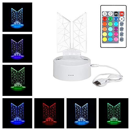 Lampara Led 3D Kpop BTS (16 colores)
