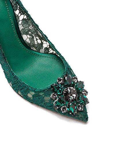 uBeauty Damen Stilettos Hell Spitzen Pumps Luxus High Heels Hochzeitsschuhe Spitze Zehen Slip On Sandalen Grün