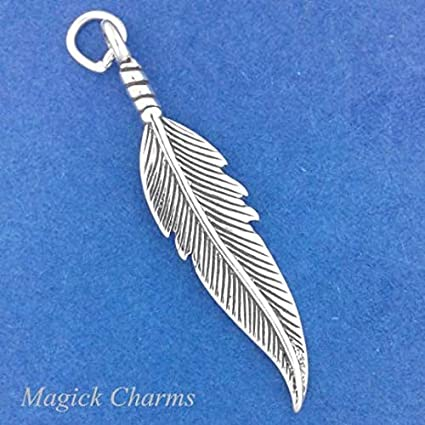 5 pcs of Silver Plated Feather Iron Base Charms