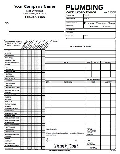 amazon com custom plumbing work order invoices 2 part carbonless