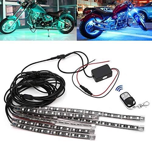 Kavas - 8 Pcs 5050 SMD Strip Flexible RGB Flashing Light LED Remote Control Motorcycle