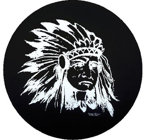 Custom Grafix Indian Chief Spare Tire Cover on Black Vinyl Size: F - 29 x 8 -