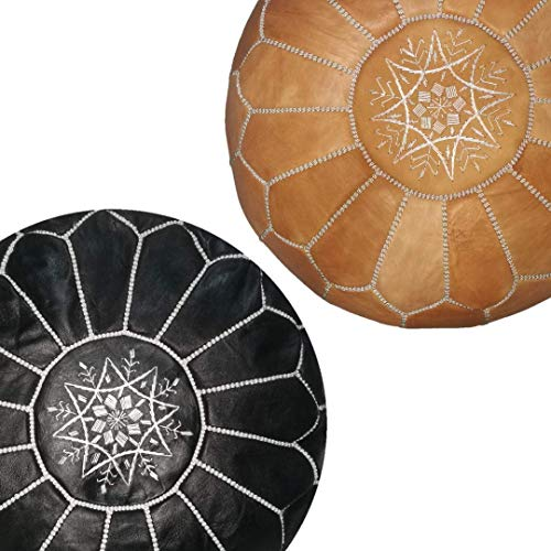 - set of 2 handmade leather Moroccan poufs ottoman round footstool color Black and cognac Unstuffed