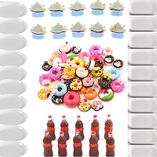 50 Pcs Mix Lots Resin Flatback Doughnut Plates Dishes Coke Mushroom Cakes Dessert Dollhouse Food Charm Art Album Flat Back Phone Scrapbooking Hair Clip Hairpin Sewing DIY Craft Accessory Jewelry Decor by Xiangfeng