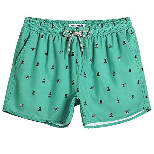 MaaMgic Fashion 80s 90s 4 Way Stretch Mens Swim Trunks Short Boardshorts Quick Dry Swimwear with Mesh Lining/Pockets