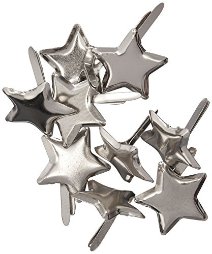 - Creative Impressions Metal Paper Fasteners 50/Package, Silver Stars