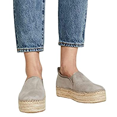 369969d9dbc LAICIGO Women s Platform Espadrilles Slip on Round Toe Faux Suede Dress  Casual Flat Boat Shoes
