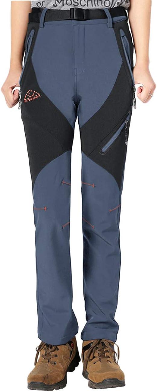 impermeables forrados Donhobo Pantalones de invierno para hombre resistentes al viento para exterior tejido Softshell senderismo c/álidos