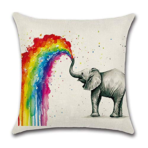 (RS-pthr Rainbow Animals Pillow Covers Square Cotton Linen Cushion Throw Pillow Cases for Home Sofa Decorative 18''x18'' (Elephant))