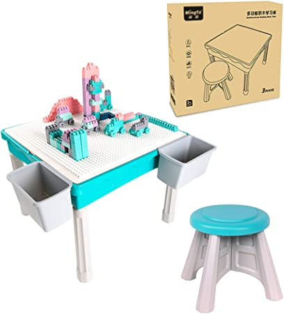 Juego de mesa y silla para niños, Mesa de estudio de juegos multifuncional, bloques de construcción