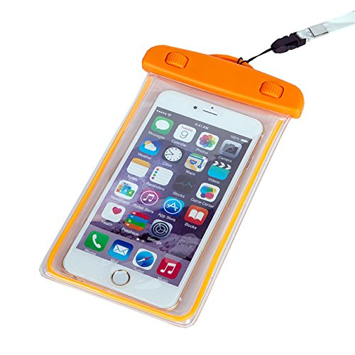 Maximalpower Universal Waterproof Case Dry Bag Pouch Glow in Dark for Cell Phone iPhone X 4,5,6,7,8 and Plus, Samsung Galaxy Note 4,5,6,8 S8/S8 Plus, Google Pixel 2 HTC LG Sony MOTO up to 6.0'' -Orange by MaximalPower