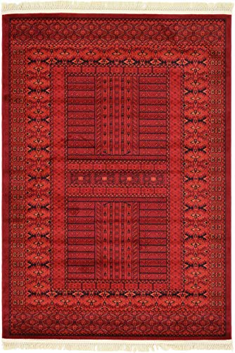 Unique Loom Tekke Collection Tribal Traditional Torkaman Red Area Rug 4 0 x 6 0