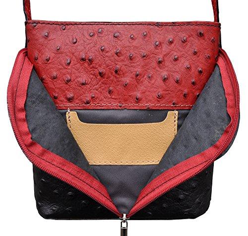 72d0c74dc54ba ... Damen Handtasche Straußenlederoptik Echt Leder Schwarz Rot -278