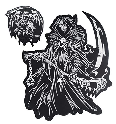 Grim Reaper god of Death Small & Large Skull Embroidered Biker Back Patches for Motorcycle Jacket & Vest (Set of 2)