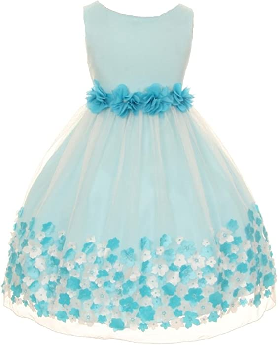 513cec26001 Amazon.com  Little Girls  Mesh Taffeta 3D Chiffon Wedding Easter Flowers  Girls Dresses Aqua Size 4  Clothing