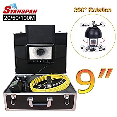 "Pipe Inspection Camera,SYANSPAN 360 Degree Rotation Drain Sewer Pipeline Industrial Endoscope with Sony 9""Color LCD Monitor Waterproof IP68 HD 1000TVL Snake Video Camera System(20/50/100M)"