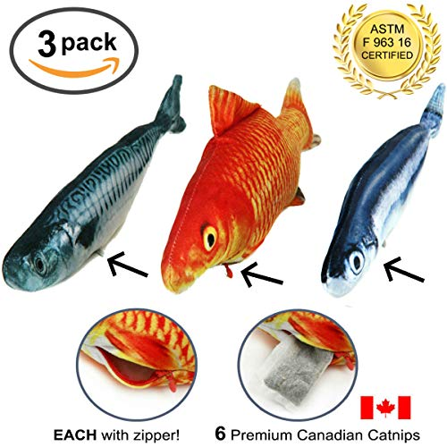 - Fish Cat / Kitten Toys – 3 Large Refillable Realistic Toy For Pet Cats or Kittens – Big Plush Shaped Pillow Stuffed With Real Catnip – Long Interactive Shape - Kitty Simulation Kicker Teaser W/ Nip