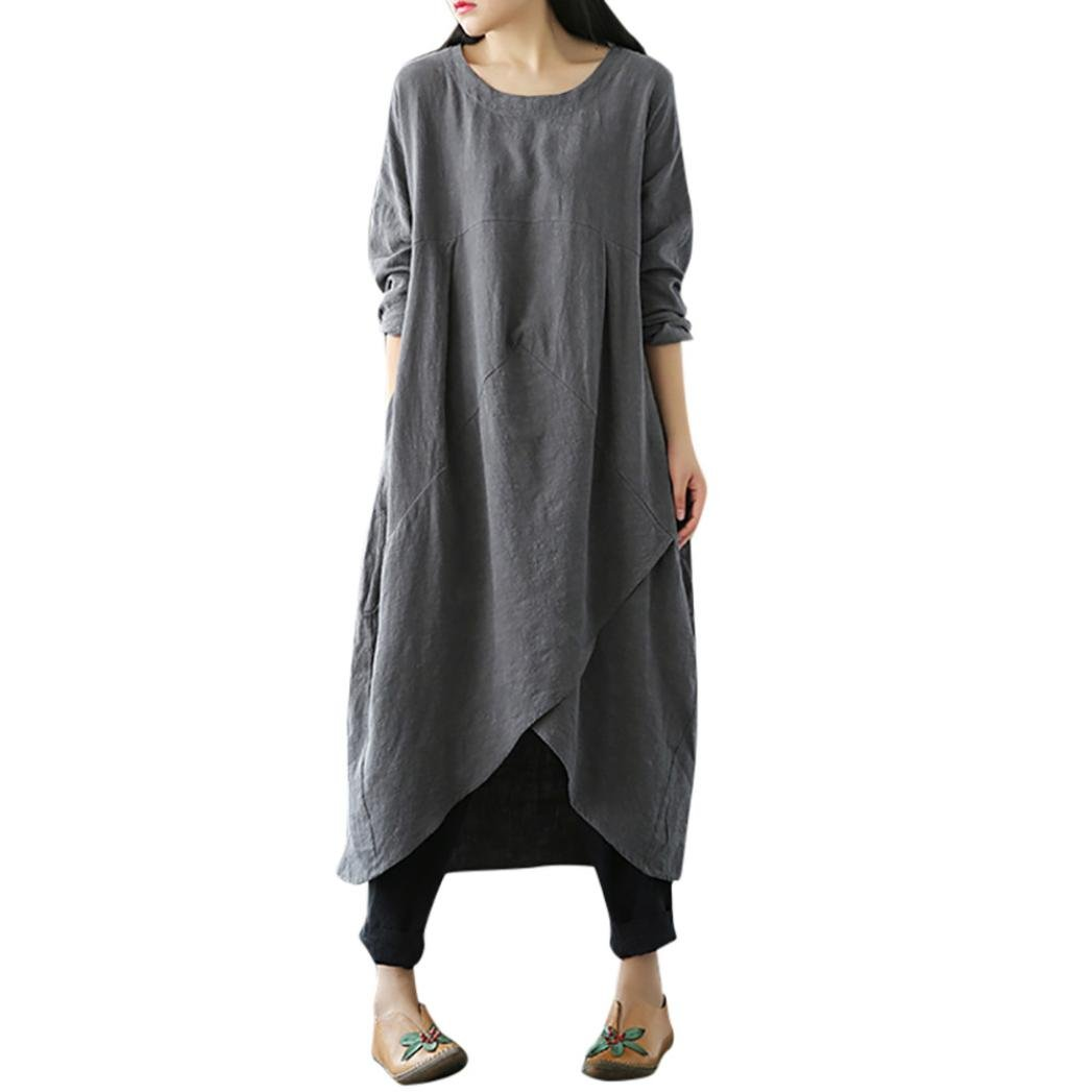 VICGREY Women's solid color cotton and linen large size dress retro long-sleeved jacket loose long dress Plus Size
