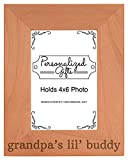 Personalized Gifts Grandpa Gift Grandpa's Lil' Buddy Grandson Natural Wood Engraved 4x6 Portrait