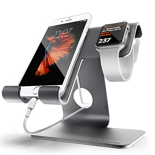 Universal 2 in 1 Cell Phone Desktop Tablet Stand ZVE Apple Iwatch Charging Stands Aluminium Dock Cradle for iWatch (38mm 42mm),iPhone 7 Plus,ipad (Up to 12.9 inch) Space grey