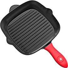 Vremi Pre-Seasoned Cast Iron Square Grill Pan - 11 inch Nonstick Stove Top Grilling Pan for Oven and Vegetables - Silicone Handle Cover - Heavy Duty Cast Iron Grill Pans for Electric or Gas Stove Tops
