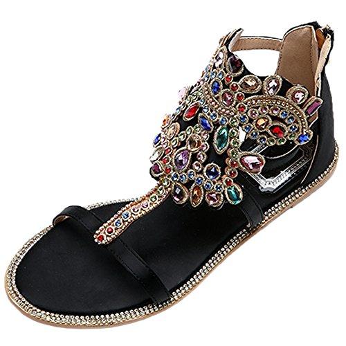 HooH Mujer Sandalias Saténs Peep Toe T-Strap Multicolor Rhinestones Pisos Sandalias Negro