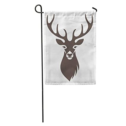 Amazoncom Semtomn Garden Flag Brown Stag Deer Head Stencil