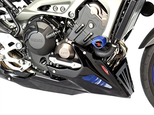 YAMAHA MT-09 13-16/FZ-09 13-16/XSR900 16 (FITS WITH YAMAHA ENGINE PROTECTORS)/WHITE-BLUE MESH & BLUE GRILL - Belly Pan Powerbronze