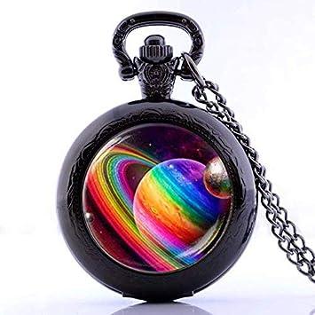 Reloj de bolsillo vintage con diseño de planeta arcoíris hecho a mano, collar y cadena de reloj de cuarzo negro: Amazon.es: Hogar