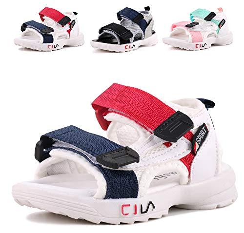 LONSOEN Boys Girls Outdoor Athletic Sport Sandals Kids Hiking Water Beach Sandal Shoes,KSD011 Deep Blue/Red CN24