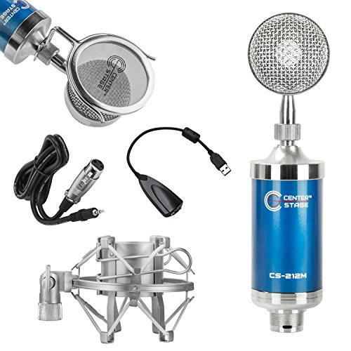 Nady Classic Tube - CenterStage CS-212 Studio Broadcast/Podcast & Recording Condenser Vocal Microphone Bundle Kit with Pop Filter + Shockmount + XLR to 3.5mm Cable + USB Soundcard