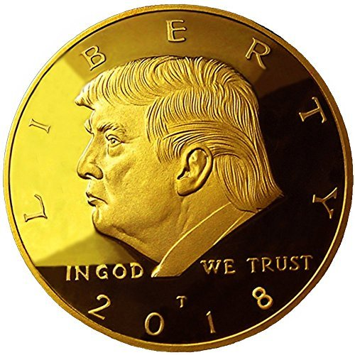 eTradewinds Choice of 2017-2018 - 2019-2020 Donald Trump Replica Gold Pieces, 45th Presidential Edition 24kt Gold Plated Commemorative Medallion & Display Case (1- Pack 2018)