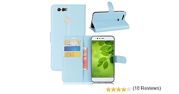 Guran® Funda de Cuero PU Para Huawei Nova 2 Plus Smartphone Función de Soporte con Ranura para Tarjetas Flip Case Cover Caso-azul: Amazon.es: Electrónica
