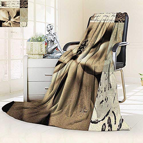 (YOYI-HOME Twin Size Bed Duplex Printed Blankets Super Soft Flaxen Silhouette by Aparicio Fleece Blanket for Bed or Couch/79 W by 47
