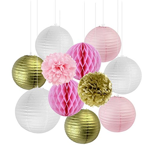 SUNBEAUTY Pack of 11 8''(20cm) Gold Pink White Paper Crafts Paper Honeycomb Balls Paper Lanterns Tissue Paper Pom Poms for Birthday Wedding Party Decoration