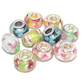 Jewelry Monster -Set of 10- Mixed Flower Glass Charm Beads